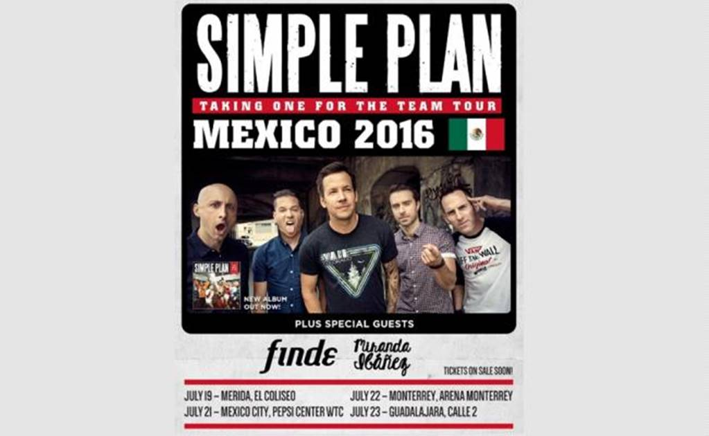Simple Plan announces concerts in Mexico