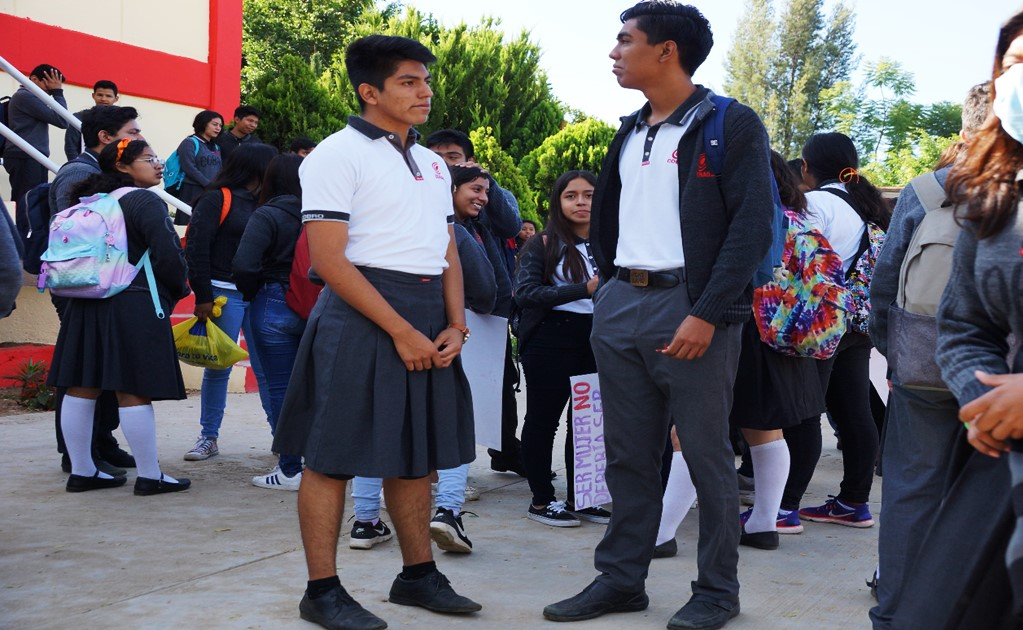 Male students wear skirts to protest sexual harassment