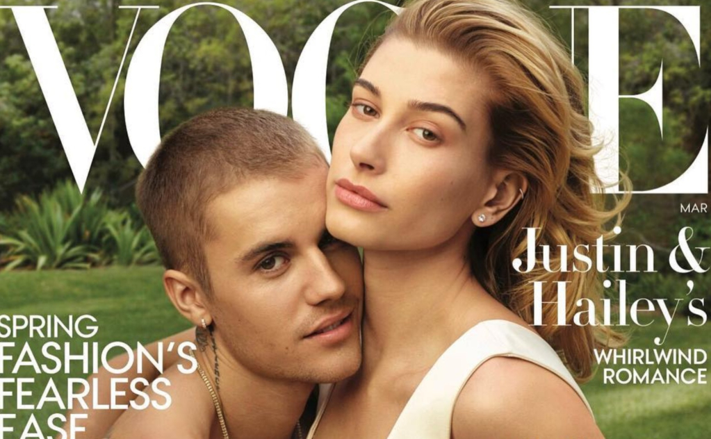 Hailey Baldwin y Justin Bieber en la revista Vogue