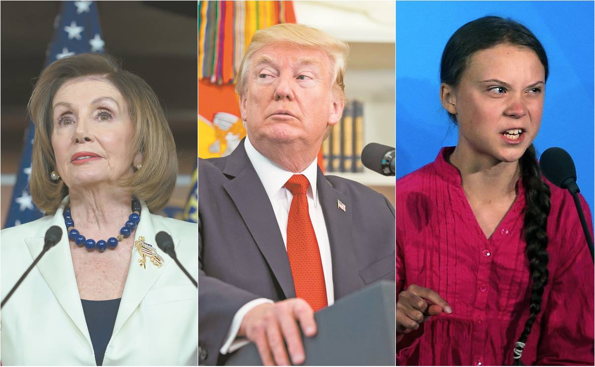Nancy Pelosi, Donald Trump, Greta Thunberg