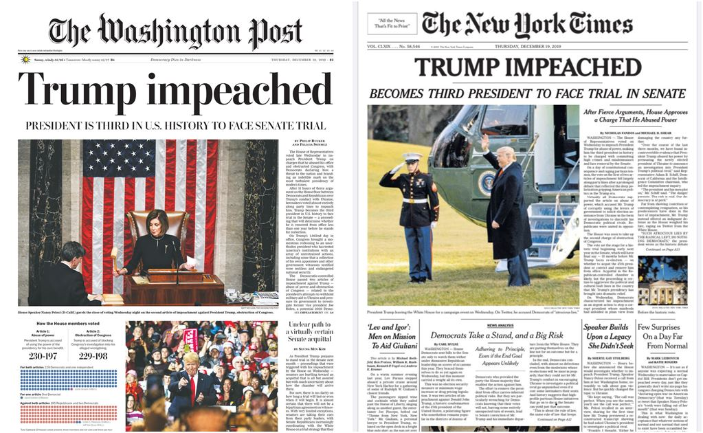 """Trump acusado"": así son las portadas del NewYork Times y Washington Post tras Impeachment al mandatario"
