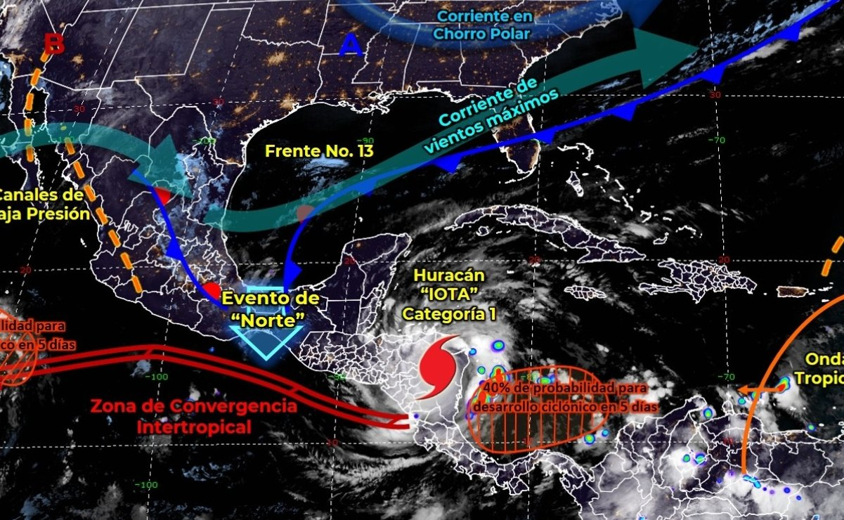 "Torrential rains are expected due to the interaction of the Cold Front 13 and hurricane ""Iota"" in Mexico"