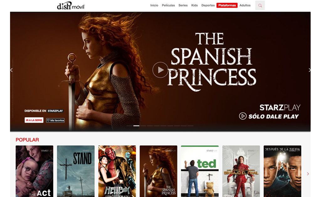 El servicio de streaming Starzplay ya está disponible en Dish México