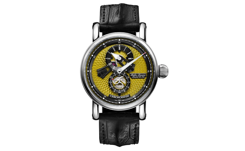 Flying Regulator Open Gear con guilloché amarillo