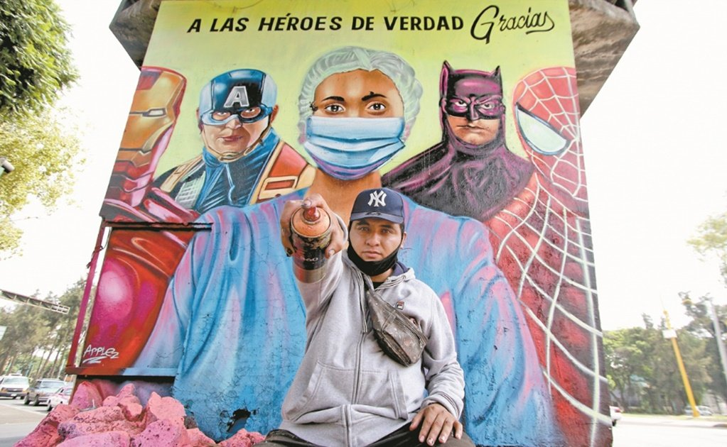 Graffiti artist paints mural in honor of Mexican healthcare workers fighting COVID-19