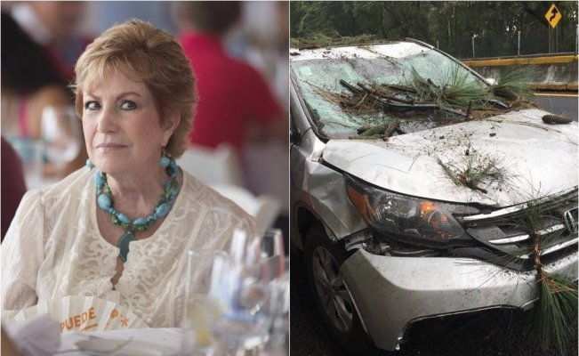 Maxine Woodside sufre accidente vehicular