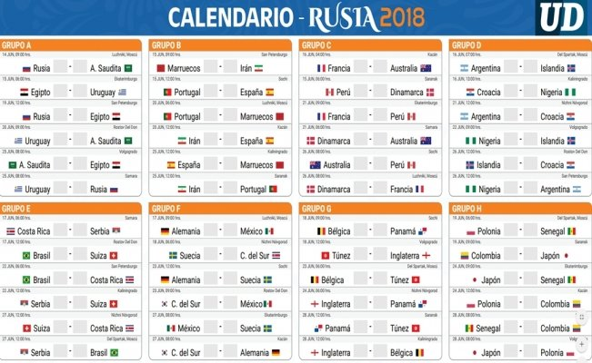 Descarga tu calendario de Rusia 2018