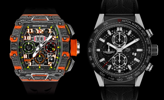 Richard Mille RM 11-03 McLaren Automatic Flyback Chronograph y TAG Heuer Carrera Heuer 01 Aston Martin.