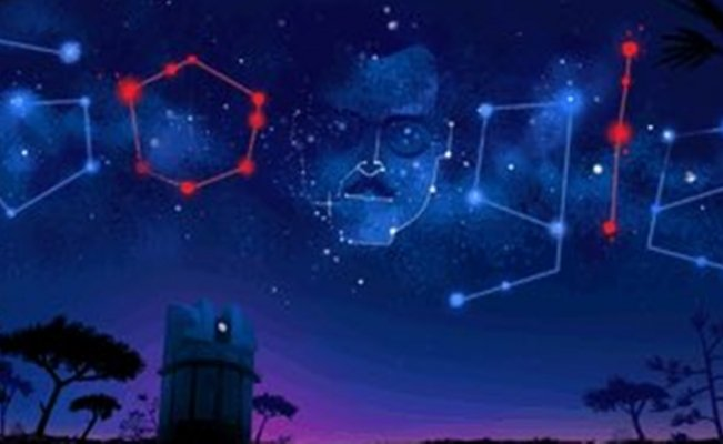 "Born 105 years ago, Google remembers the late Mexico astronomer with a stary sky doodle underlining Orions Belt or ""Tres Marías"" stellar arrangement"