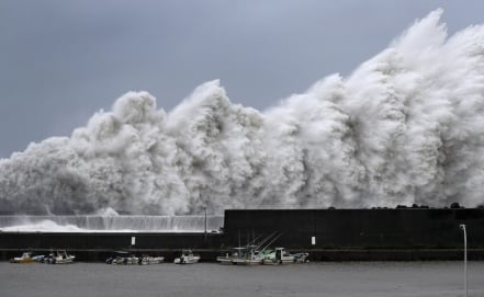 Japan battered by Typhoon Jebi, the strongest storm in 25 years