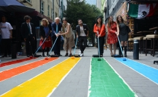 Mexico City colors pedestrian crossing with rainbow flag for Pride Month