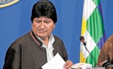 Protest against Evo Morales in Mexico
