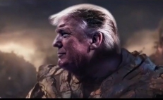 Captura de pantalla del video de la campaña de Donald Trump y el montaje sobre Thanos