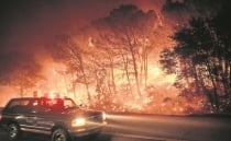 California wildfires: Flames scorch roads in fires caused by lightning strikes