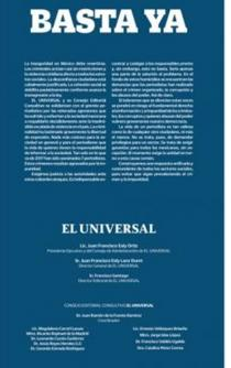 "EL UNIVERSAL issues its ""Enough is enough"" manifesto versus violence against journalists"