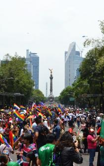 Gay Pride and soccer fans march on Reforma Avenue