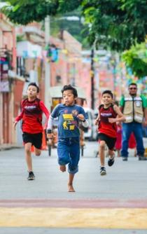 11-year-old champion is given running shoes